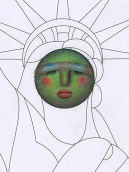 Idea Gallery of The Statue of Liberty in colored pencil by Darin